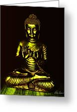 Green And Gold Buddha Greeting Card
