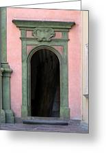 Green And Pink Doorway In Krakow Poland Greeting Card