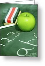 Green Apple For School Greeting Card by Sandra Cunningham
