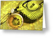 Green Asian Teapot With Cup  Greeting Card