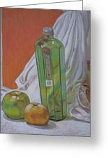 Green Bottle And Fruit. Greeting Card