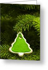 Green Branches Of A Christmas Tree Greeting Card