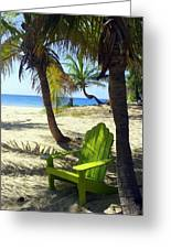 Green Chair On The Beach Greeting Card
