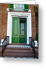 Green Door Charleston Greeting Card by Lori Kesten