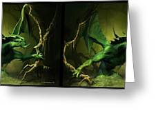 Green Dragon - Gently Cross Your Eyes And Focus On The Middle Image Greeting Card