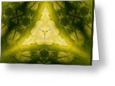 Green Floral Triangle Greeting Card by Linda Phelps