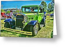 Green Ford Street Rod Hdr Greeting Card