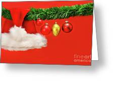 Green Garland With Santa Hat And Ornaments Greeting Card