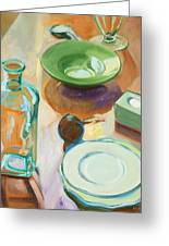 Green Glass And Plates Greeting Card