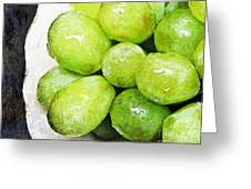 Green Grapes On A Plate Greeting Card