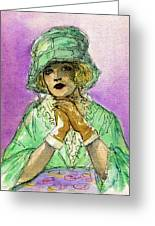 Green Hat Greeting Card