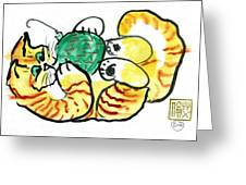 Green Ornament - Holiday Cat 20 Greeting Card