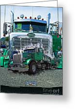 Green Peterbilt Dbl. Exposure Greeting Card