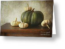 Green Pumpkin And Gourds On Table  Greeting Card by Sandra Cunningham