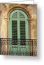 Green Shutters And Balcony In Verona Greeting Card