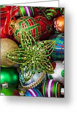 Green Star Christmas Ornament Greeting Card by Garry Gay