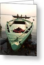 Green Stationary Boat At Waters Edge Greeting Card