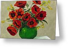 Green Vase Red Poppies Greeting Card