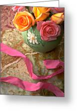 Green Vase With Roses Greeting Card