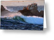 Green Waves Pastel Greeting Card