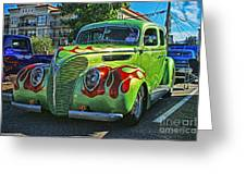 Green With Flames Hdr Greeting Card