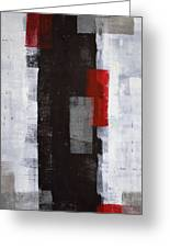 Power Trip - Grey And Red Abstract Art Painting Greeting Card