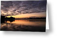 Grey Clouds And Orange Sunrise Greeting Card