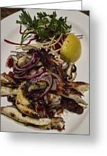 Griiled Fresh Greek Octopus Greeting Card by David Smith