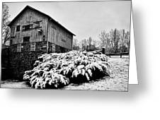 Grist Mill In Winter - Hdr Greeting Card