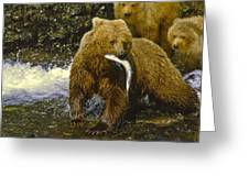 Grizzly Bear And Cubs Greeting Card