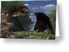 Grizzly Vs. Saber-tooth Greeting Card