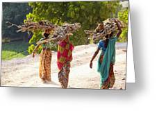 Group Of Women Carrying Firewood Near Greeting Card