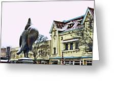Guard Pigeon And Liberty Theater Greeting Card