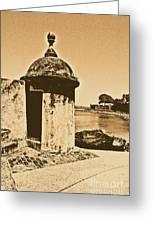 Guard Post Castillo San Felipe Del Morro San Juan Puerto Rico Rustic Greeting Card by Shawn O'Brien