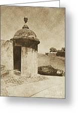 Guard Post Castillo San Felipe Del Morro San Juan Puerto Rico Vintage Greeting Card by Shawn O'Brien
