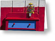 Gum Ball Machine On Red Desk Greeting Card