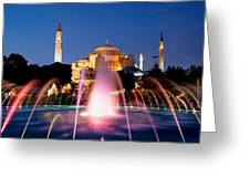 Hagia Sophia At Night Greeting Card by Artur Bogacki