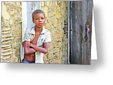 Haitien Boy Leaning On Wall Greeting Card