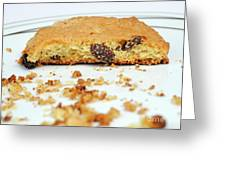 Half Cookie And Crumbs In Plate Greeting Card