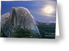 Half Dome Moon Rise Greeting Card