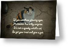 Halloween Calico Cat And Poem Greeting Card Greeting Card