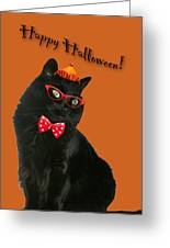 Halloween Card - Black Cat Ready To Party Greeting Card
