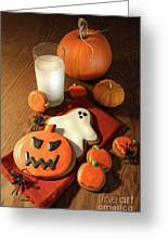 Halloween Cookies With A Glass Of Milk Greeting Card