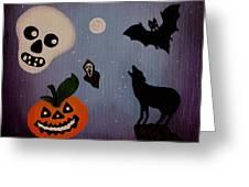 Halloween Night Original Acrylic Painting Placemat Greeting Card