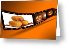 Halloween Pumpkin Film Strip Greeting Card by Amanda Elwell