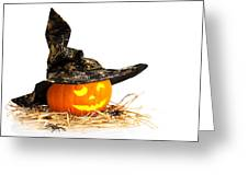Halloween Pumpkin With Witches Hat Greeting Card