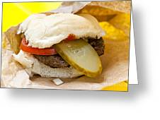 Hamburger With Pickle And Tomato Greeting Card