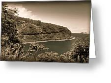 Hana Highway Sepia Greeting Card