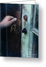 Hand Putting Vintage Key Into Lock Greeting Card