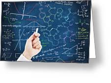 Hand Writing Science Formulas Greeting Card by Setsiri Silapasuwanchai